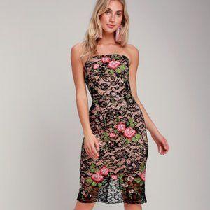 Adelyn Rae Maribel Black Embroidered Lace Dress